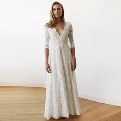 Lace three quarters Sleeve Wedding maxi dress 1124 - Blushfashion