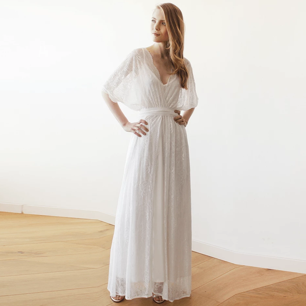 Boho Wedding DressFloral lace ivory sheer maxi dress 1044