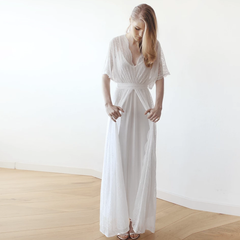 Floral lace ivory sheer maxi dress 1044 - Blushfashion