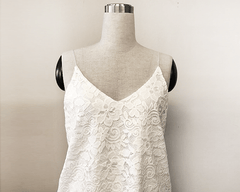 Floral Ivory open-back lace bridal tank top 2018 - Blushfashion