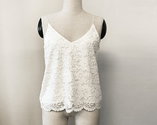 Floral Ivory open-back lace bridal tank top