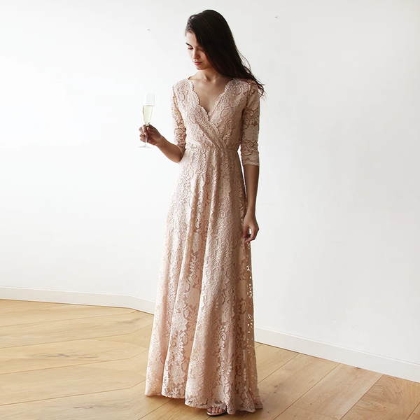 Boho  pink blush lace  wrap dress  #1124