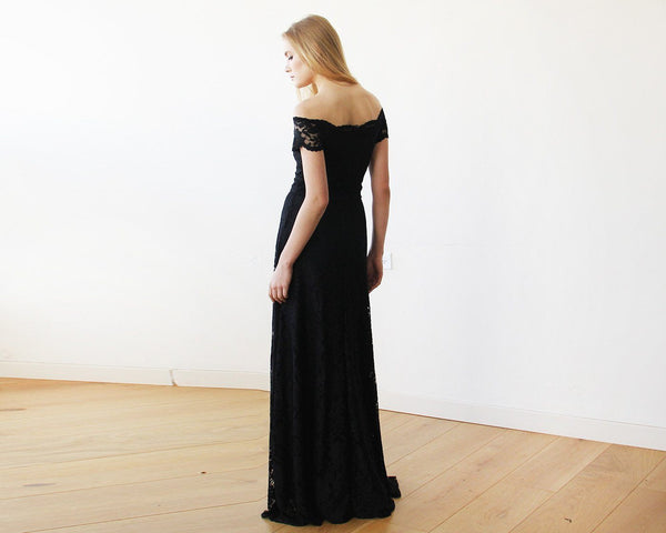 Off-The-Shoulder Black Short Sleeves Lace Maxi Dress 1142
