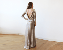 Gold Backless maxi dress with long sleeves 1041