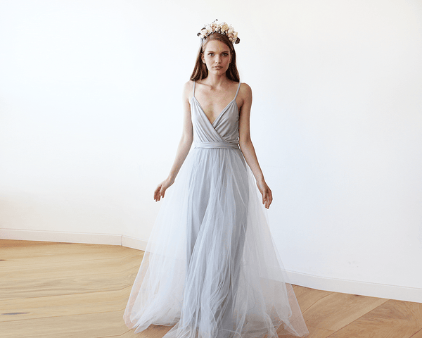 Light Grey straps maxi tulle dress 1053