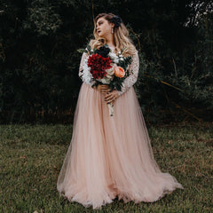 Pink Off-The-Shoulder Lace and Tulle Train Wedding Gown 1162 - Blushfashion