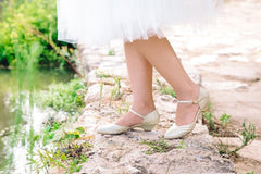 Bridal Shoe, Romantic Gold Low Heeled Vintage Inspired Wedding Kitten Heel, Vegan bridal shoes - Blushfashion
