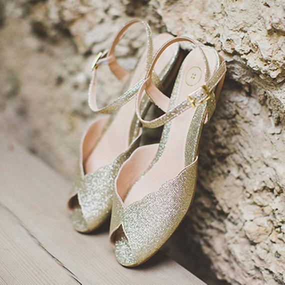 Sparkly Gold Flat Sandal, Vintage Inspired Wedding Shoe