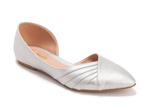 Silver Pointed Toe Flat, Vegan Elegant Bridal Ballerinas, Comfortable wedding shoes