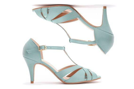 Light Blue High Heeled Sandal, Vintage Inspired Wedding shoes, Bridesmaids Shoes in Light Blue