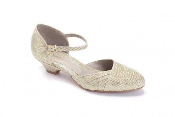 Bridal Shoe, Romantic Gold Low Heeled Vintage Inspired Wedding Kitten Heel, Vegan bridal shoes