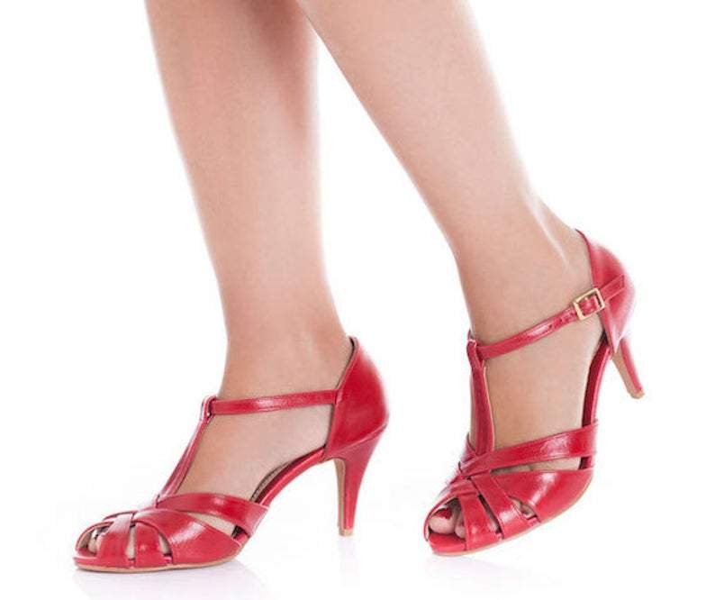 The Donna Vegan Bridal High Heeled Sandal, Red Vintage Inspired Summer Heels