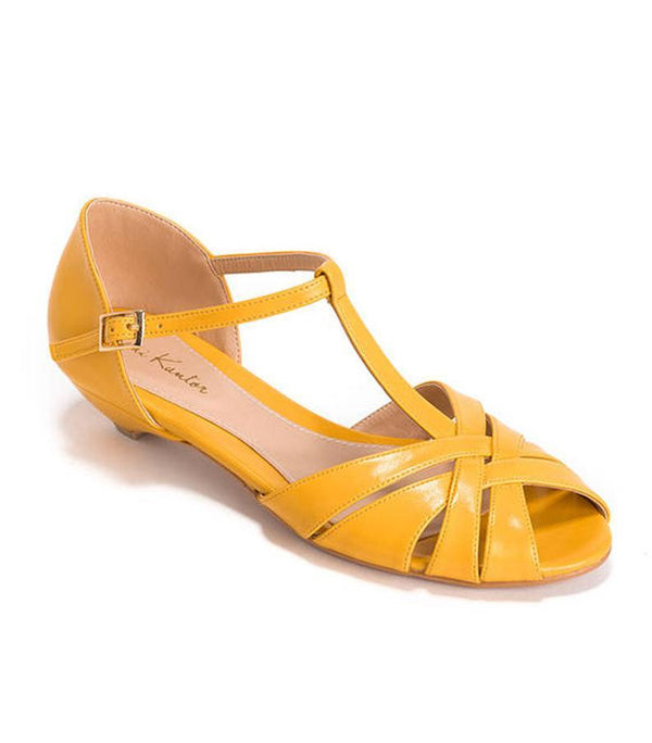 Shila Vegan Yellow Bridal Vintage Inspired Kitten Heel, Comfortable Low Heel Wedding Shoe