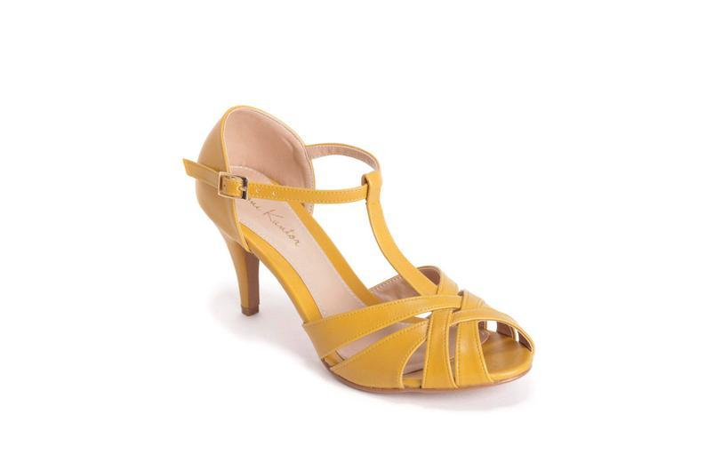 The Donna Vegan Bridal High Heeled Sandal, Yellow Vintage Inspired Summer Heels