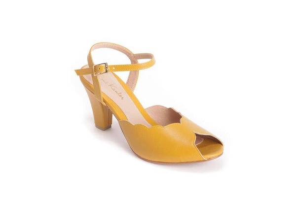 Adina Vegan  Bridal Shoes, Yellow High Heel Wedding Sandal with a Vintage Flair