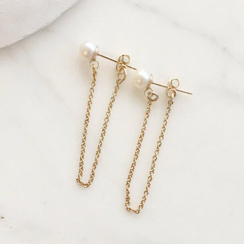 Pearl Bridal Earrings, Pearl Gold Earrings, Gold  Earring, Bridal Jewelry, Bridesmaids Gift, Romantic Earrings