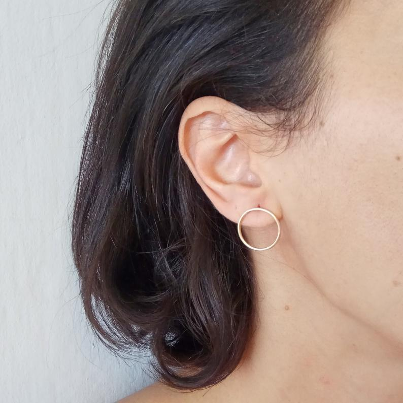 Gold Hoop Earrings, Delicate Earring, Gold Earrings, Bridesmaid Gift, Elegant Earrings,