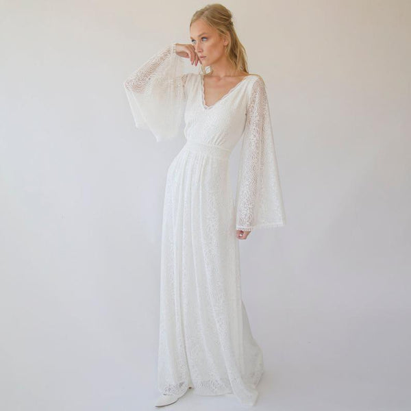 Bohemian V neckline wedding dress with bell sleeves 1284