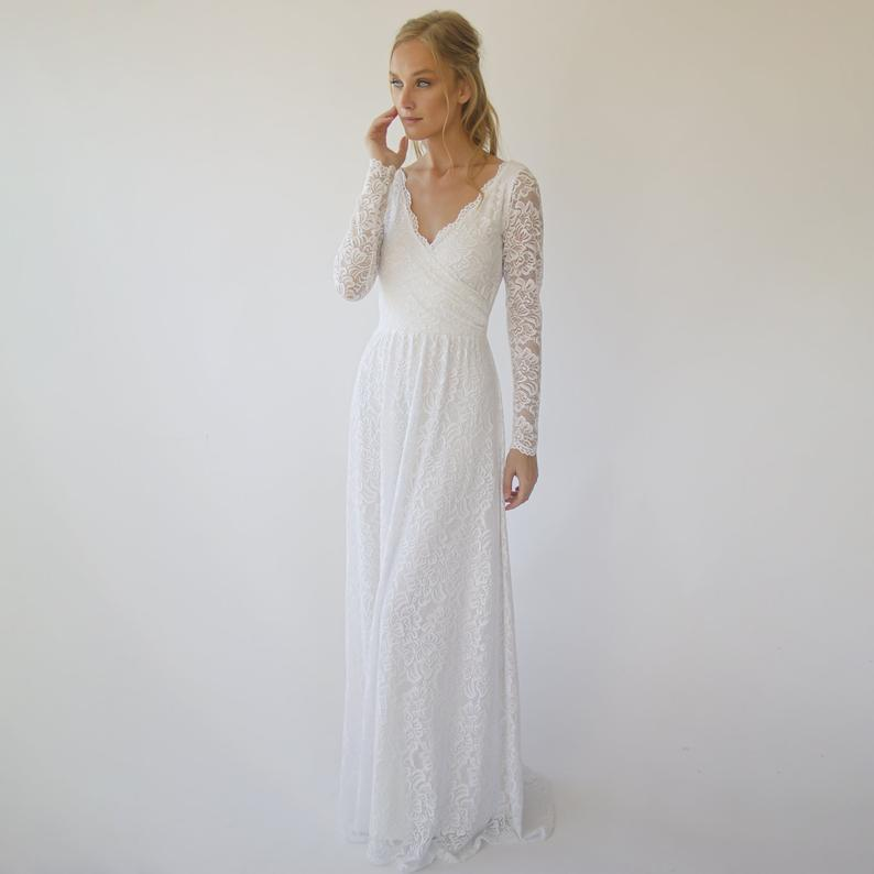 Wrap lace wedding dress  with long sleeves #1287
