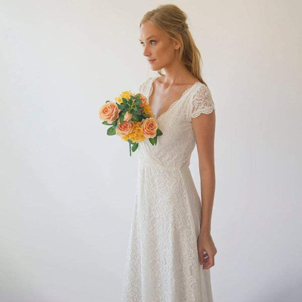 Cap sleeves Bohemian Wedding dress #1289