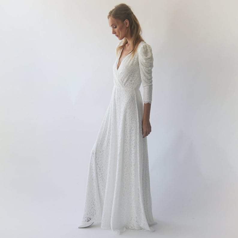Ivory Puffed long sleeves ,lace wedding dress, Ivory Bohemian wedding dress 1283