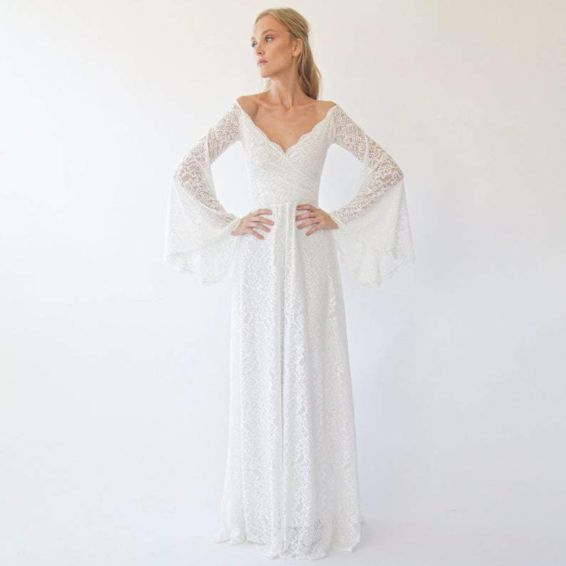 Off the shoulder wrap wedding dress  with bell sleeves  1279