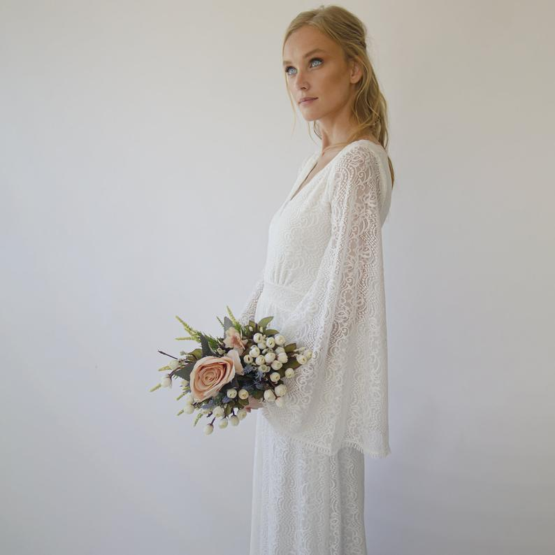 Bohemian V neckline wedding dress with bell sleeves #1284