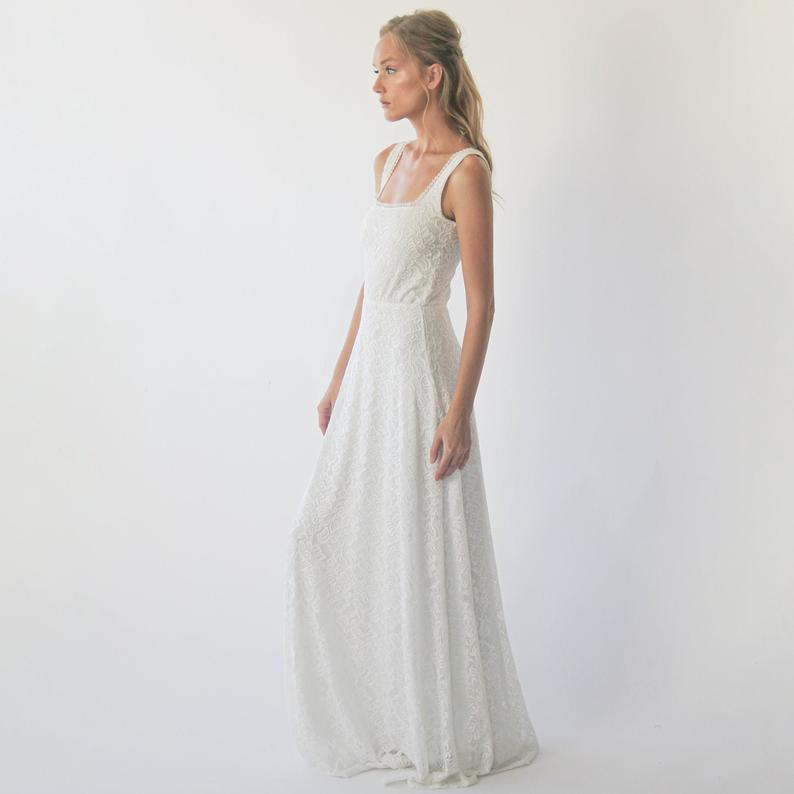 Square Neckline Rustic  Wedding Dress  #1277