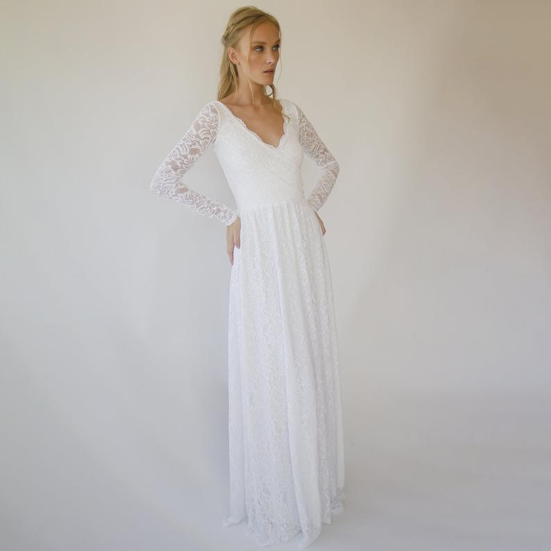 New Arrivals Wrap lace wedding dress  with long sleeves #1287