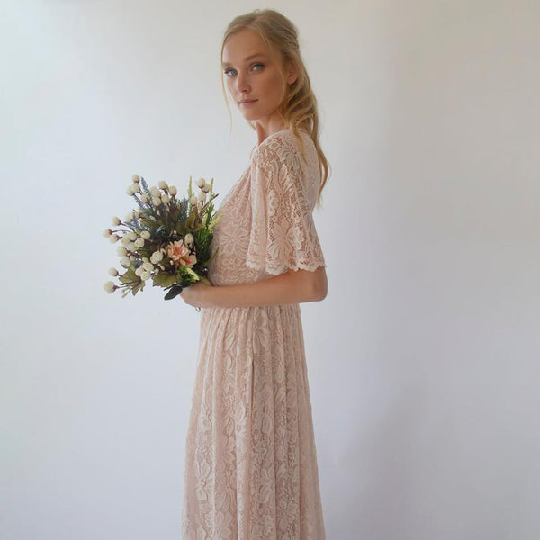 Blush wrap lace bohemian wedding dress, butterfly sleeves 1288