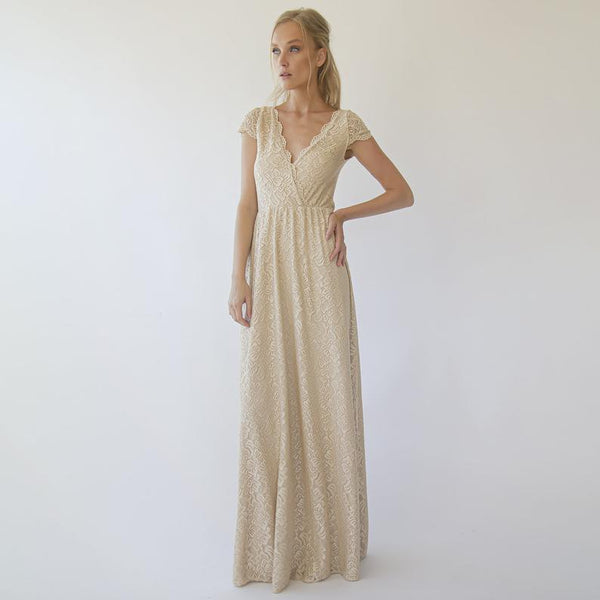Cap sleeves lace wedding dress, Champagne Bohemian wedding dress 1289