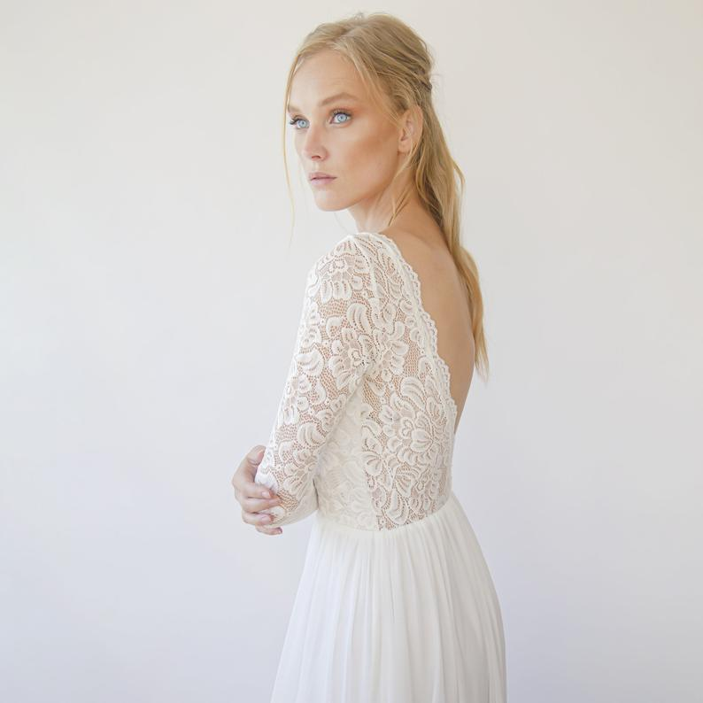 Vintage Lace Long Sleeves, Backless wedding dress,V neacckline  1290