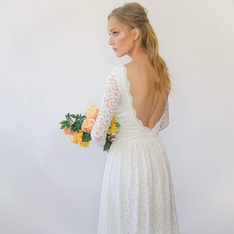 New Arrivals Vintage Bohemian Open back wedding dress  #1292