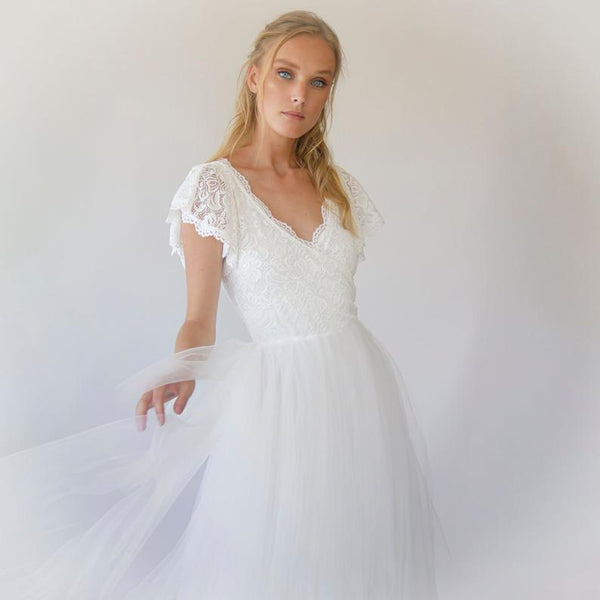 Fairy ivory wrap wedding dress, butterfly sleeves and puffy tulle #1293