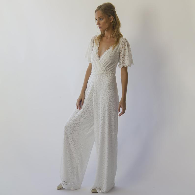 Bohemian butterfly sleeves bridal Lace Jumpsuit with belt #1309