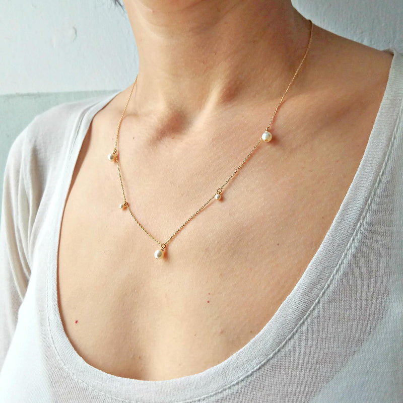 Gold Pearl Necklace  #4047