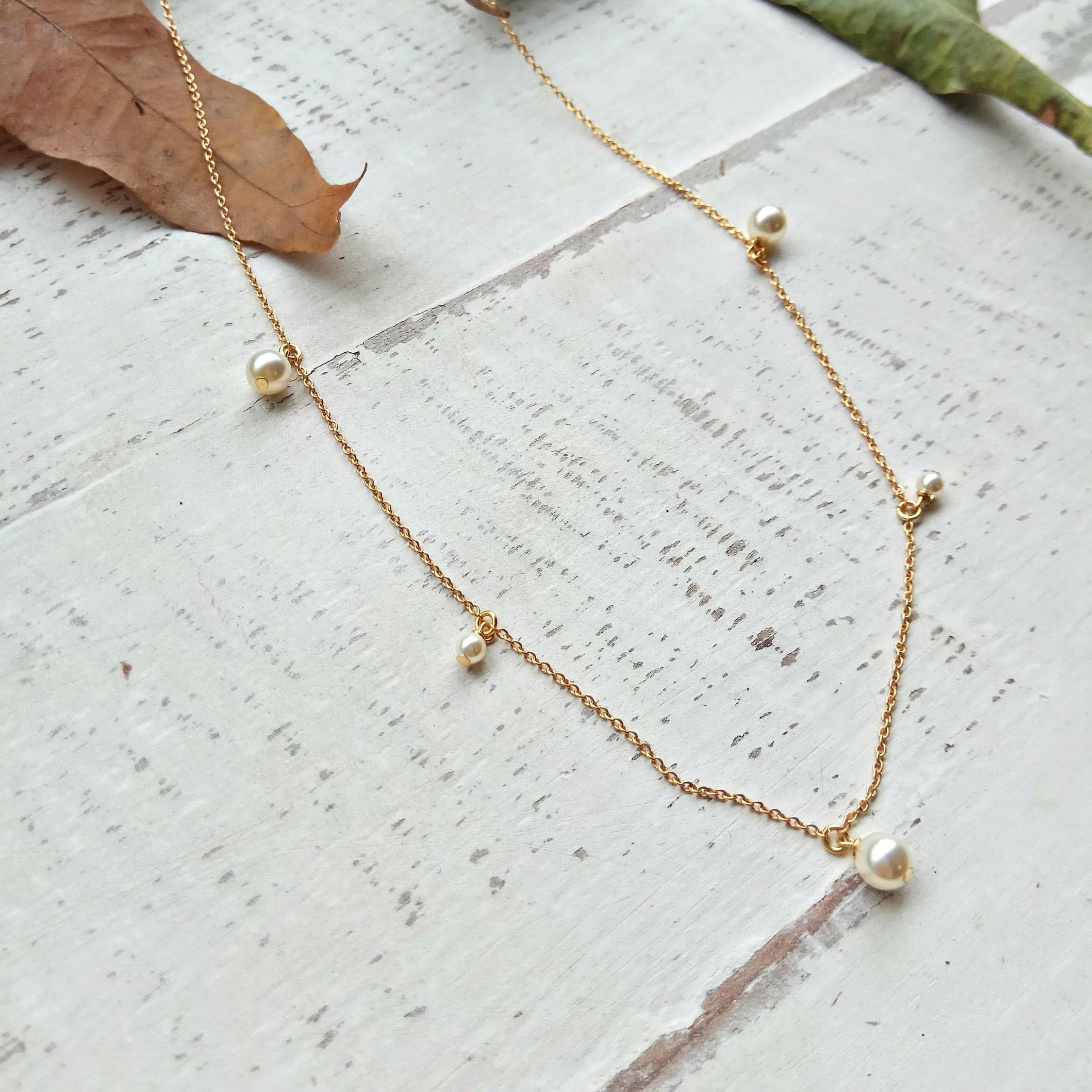 Gold Pearl Necklace, Bridal Jewelry Collection, Wedding Necklace, Bridesmaid Gift, Handmade, Jewelry Gift for Her, Valentine's Day Necklace