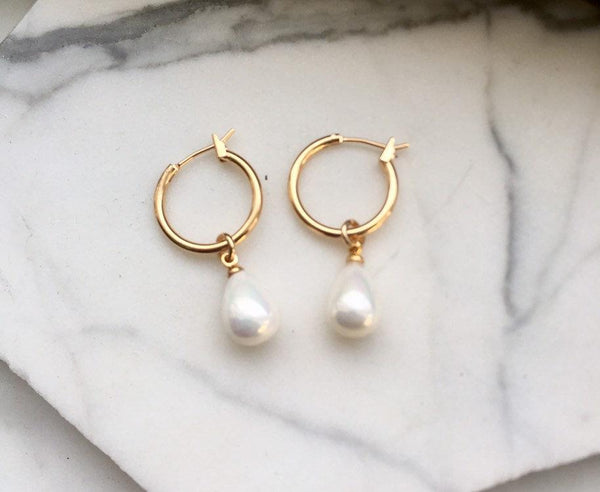 Hoop Pearl Earrings, Pearl Teardrop Earrings, Gold and Pearl Earring, Bridesmaid Earrings, Bridal Jewelry, Wedding Jewelry, Bridesmaids Gift