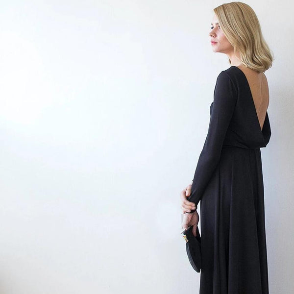 Black Formal Backless Long Sleeve Maxi Dress With Open-back 1041
