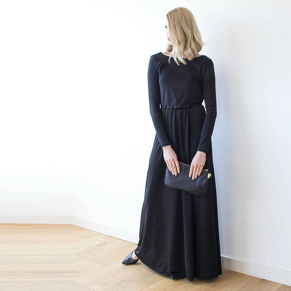 Black Long Sleeve Formal Maxi Dress With Open-back