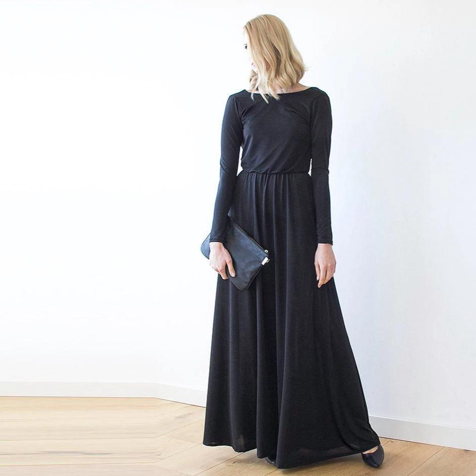 Black Formal Backless Long Sleeve Maxi Dress With Open-back 1041 ...