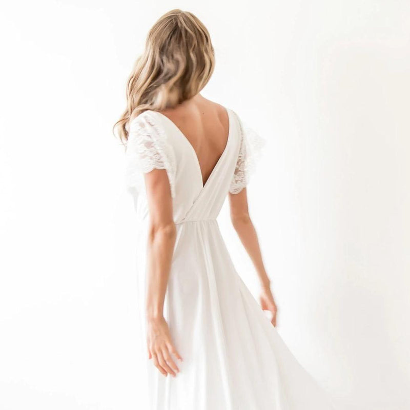 Ivory Wrap Wedding Dress with short lace sleeves SALE 1052 - Blushfashion