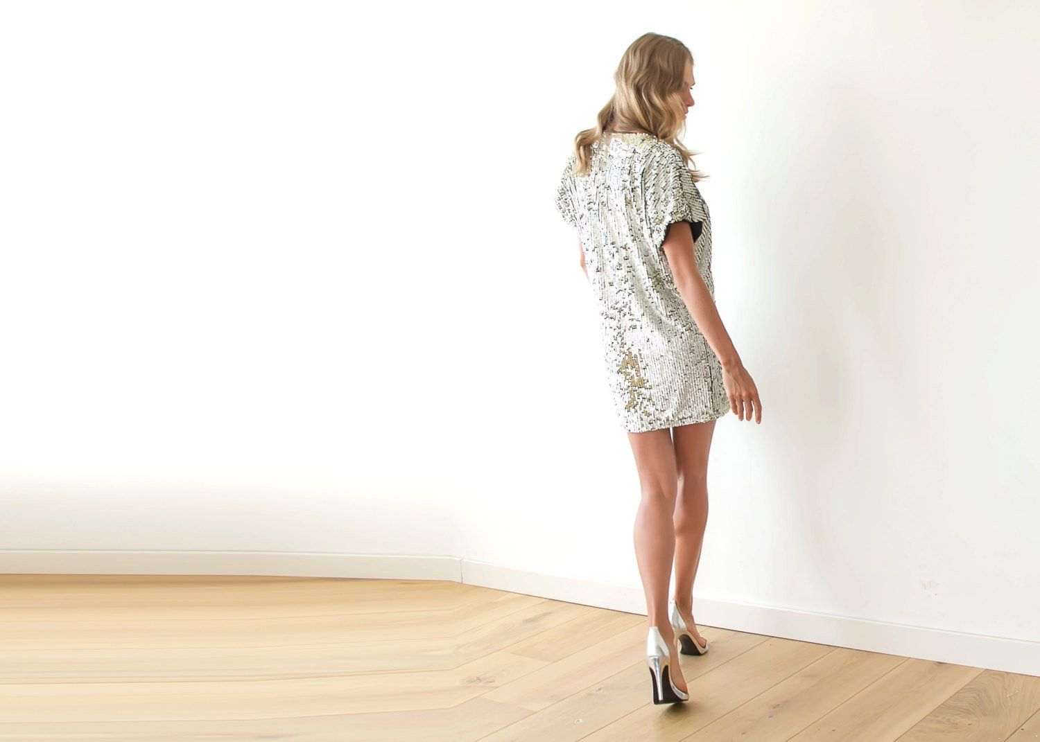 Sparkling Silver Sequin Mini Dress 1103 - Blushfashion
