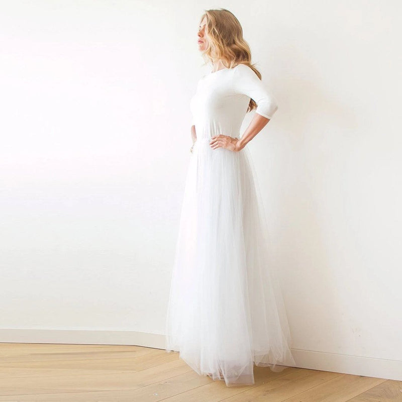 Ivory Open Back Tulle Maxi Dress 1050 - Blushfashion