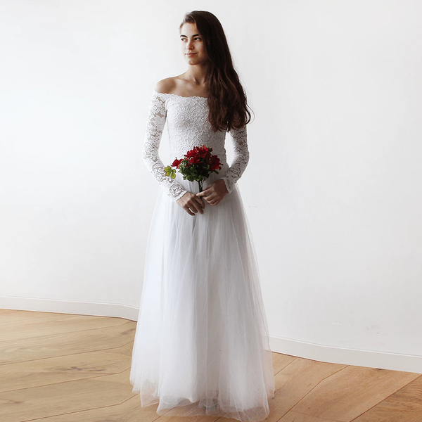 Off-The-Shoulder Ivory Lace and Tulle Wedding Maxi Dress 1134