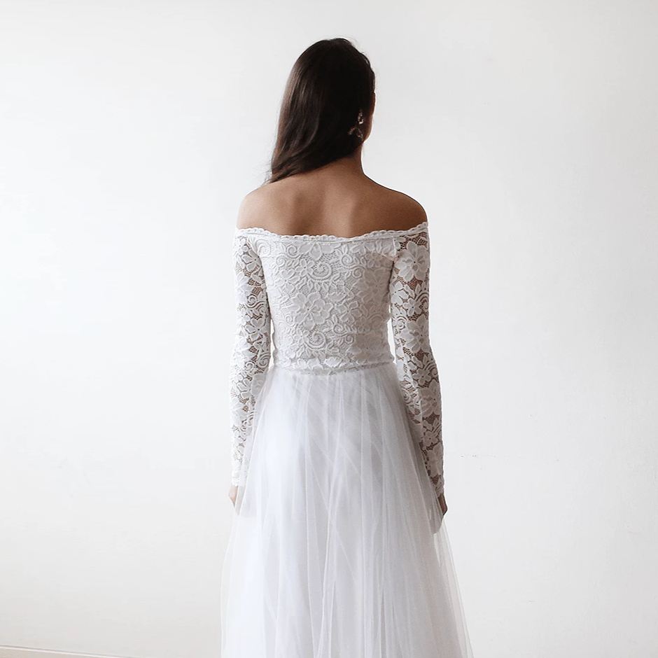 Off The Shoulder Ivory Lace And Tulle Wedding Maxi Dress