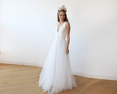 Ivory Tulle and Lace Wedding Gown 1113 - Blushfashion