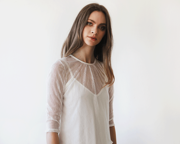 Ivory Sheer Lace Long Sleeve Top 2024