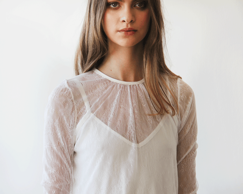 Ivory Sheer Lace  Top #2024