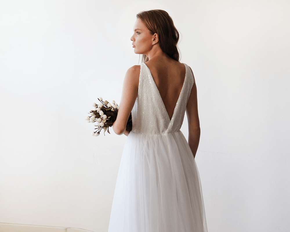 Ivory Sequins and Tulle Bridal Gown, simple sleeveless wedding gown ...